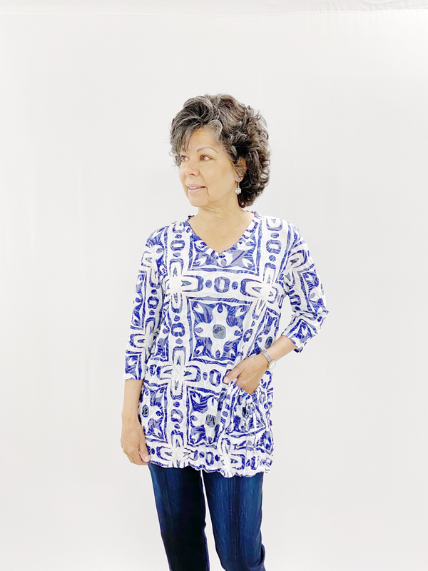 Blue Tile Crinkle Tunic