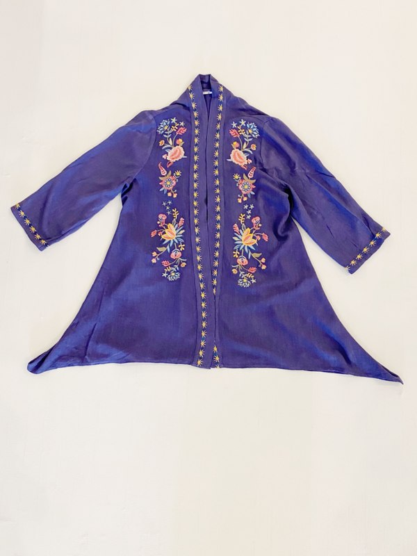 Embroidery Blue Duster