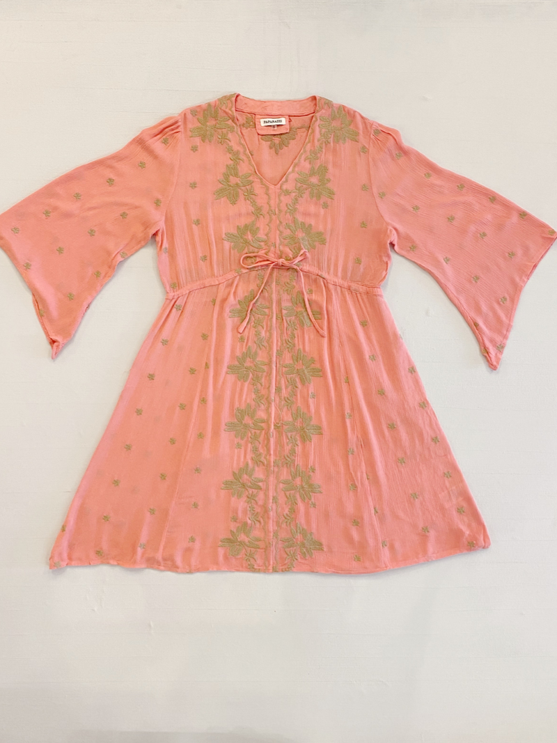 Papparazi Coral Embroidery Dress
