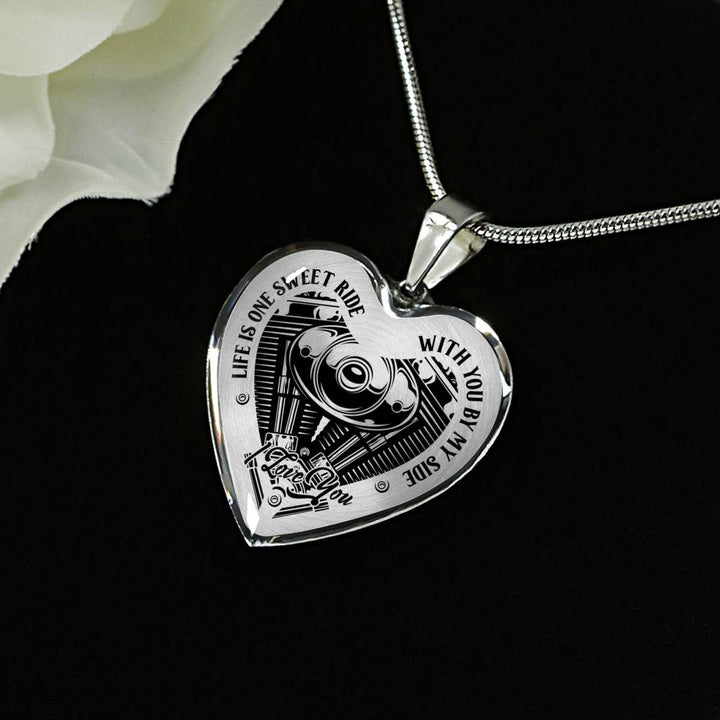 Life is One Sweet Ride Biker Love Necklace (USA Made)