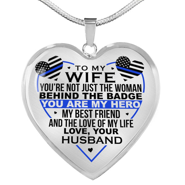 Law Enforcement Wife My Hero Necklace (USA Made)