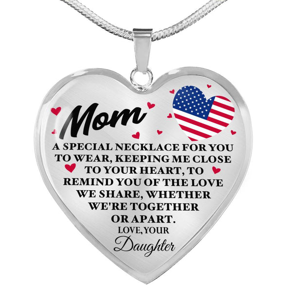 Love We Share Military Mom Heart Necklace (USA Made)
