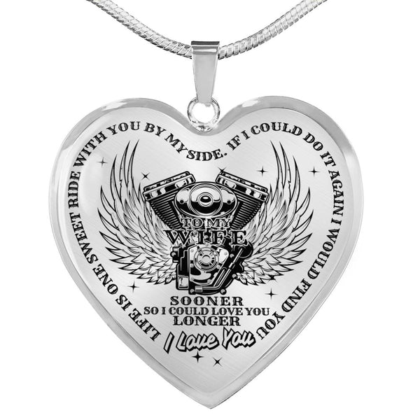 Life Is One Sweet Ride Love You Longer Biker Lover Necklace (Made In The USA)