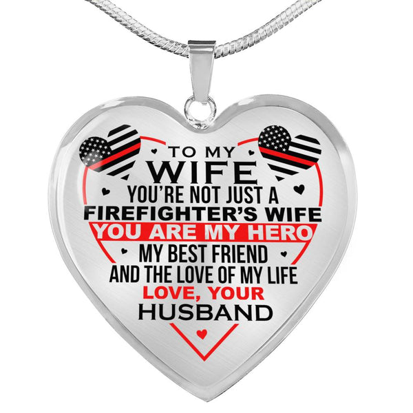 Firefighter's Wife My Hero Necklace (USA Made)