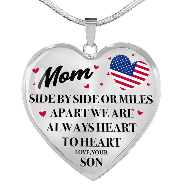 Heart To Heart Military Mom Son Necklace (USA Made)