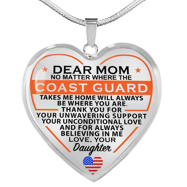 Coast Guard Daughter Mom Heart Necklace (USA Made)