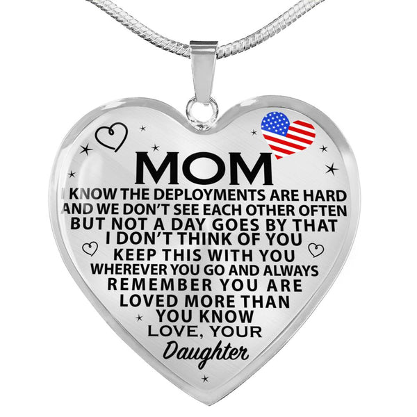 Military Daughter To Mom Heart Necklace (USA Made)