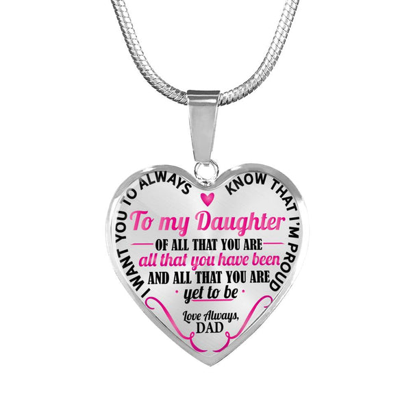 To My Daughter So Proud Of You Heart Necklace