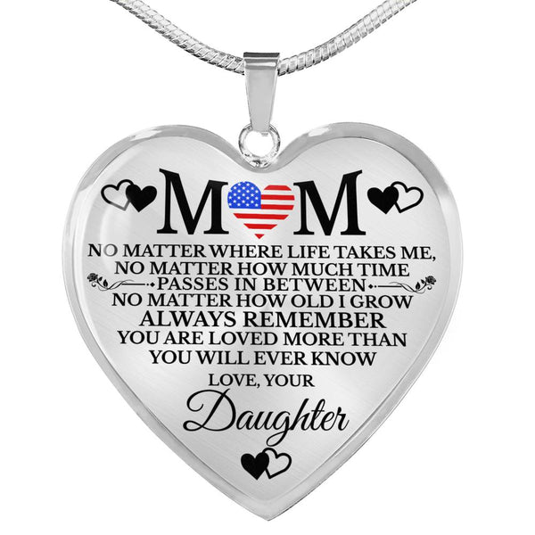 Military Mom Loved More Than You Know Heart Necklace
