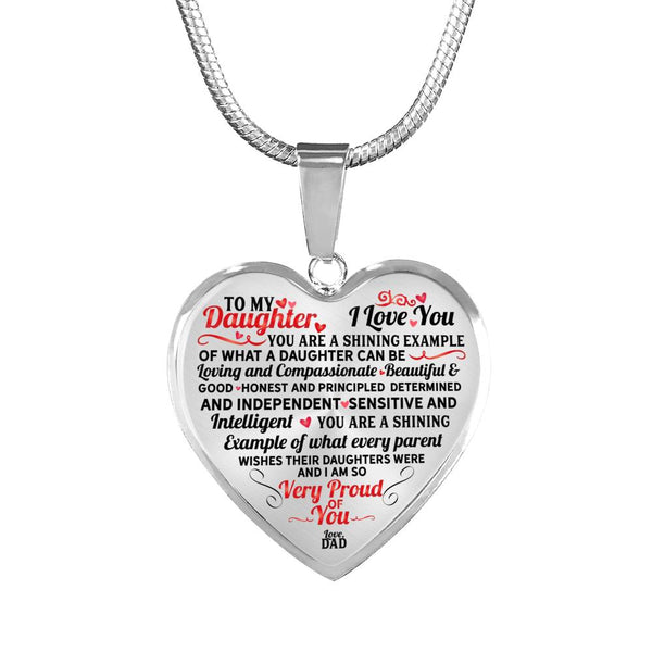 To My Daughter I Couldn't Be Prouder Heart Necklace