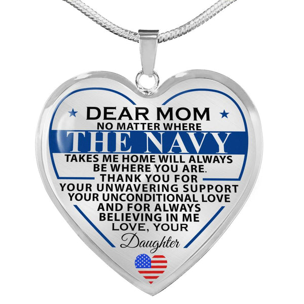 Navy Daughter To Mom Heart Necklace (Made In The USA)
