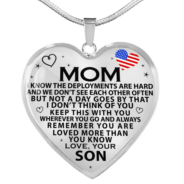 Military Mom Mother's Day Heart Necklace