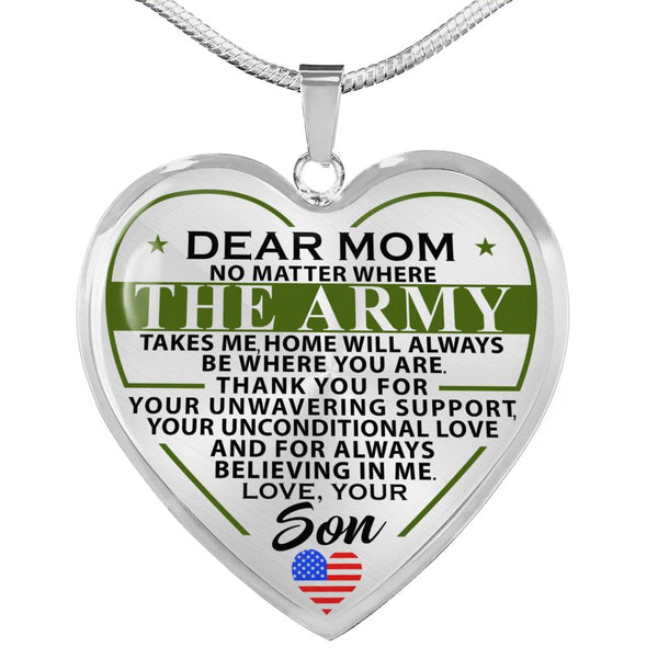 Army Son To Mom Mother's Day Heart Necklace