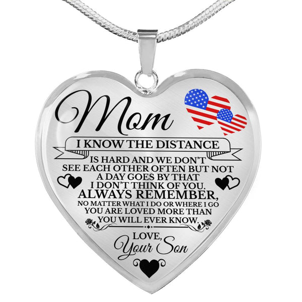 Military Mom Loved More Than You Know Heart Necklace  (USA Made 🇺🇸)