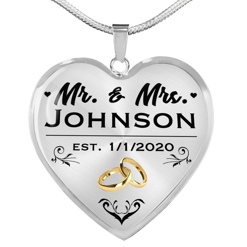 PERSONALIZED Wedding Anniversary Heart Necklace (USA Made)