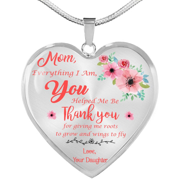 Thank You Mom Mother's Day Heart Necklace (USA Made)
