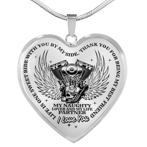 Life Is One Sweet Ride Partner For Life Biker Lover Necklace (Made In The USA)