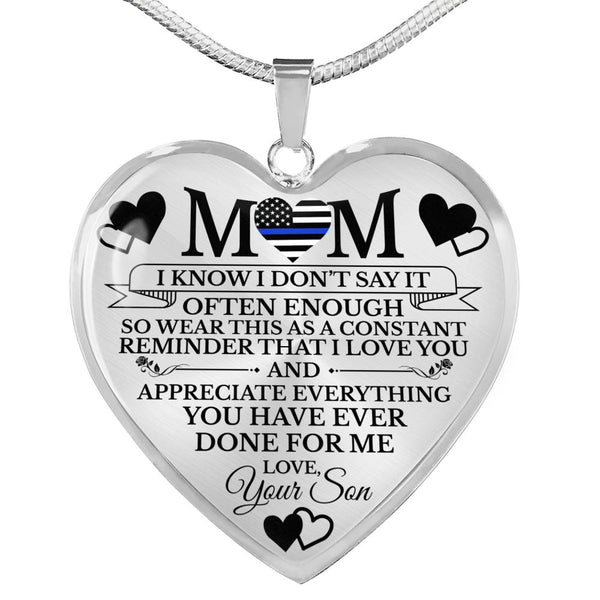Blue Line Mom Mother's Day Necklace