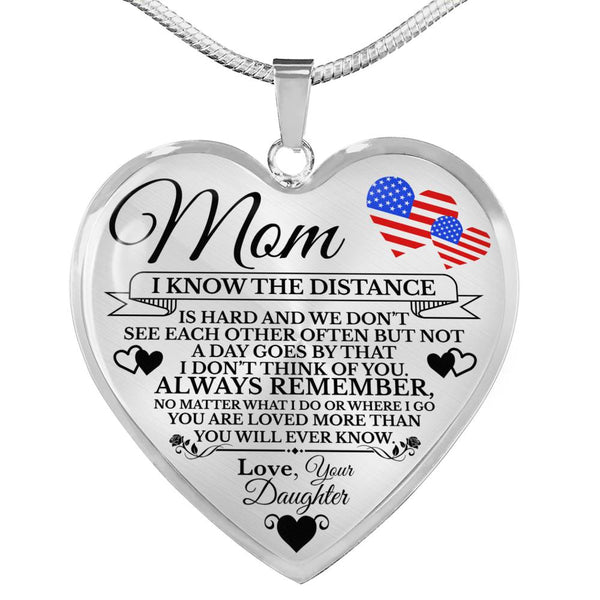 Military Daughter Mom Heart Necklace (USA Made)