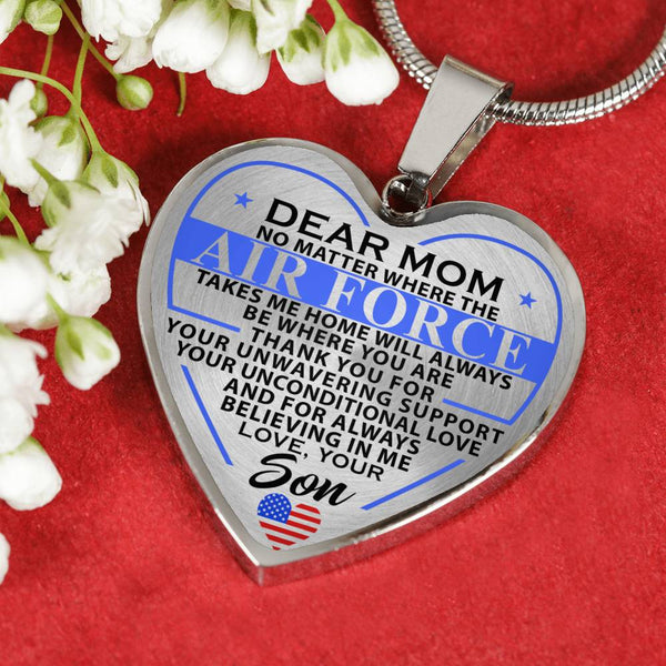 Airforce Mom Take Me Home Mother's Day Heart Necklace (USA Made)