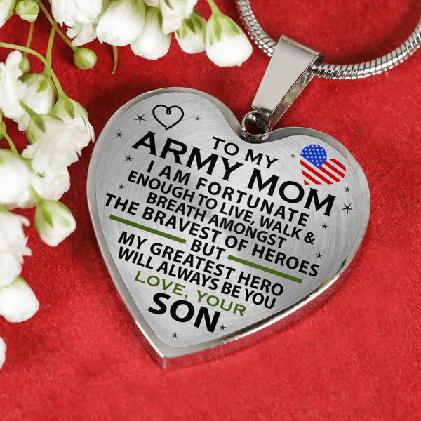 Army  Mom Greatest Hero Mother's Day Heart Necklace (USA Made)