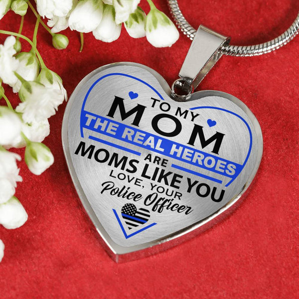 Police Mom Hero - Mom - Heart Necklace (USA Made)