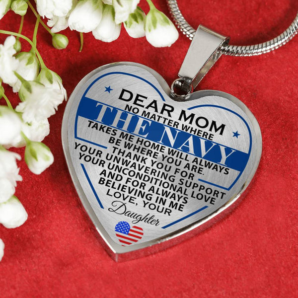 Navy Daughter To Mom Home Heart Necklace (Made In The USA)
