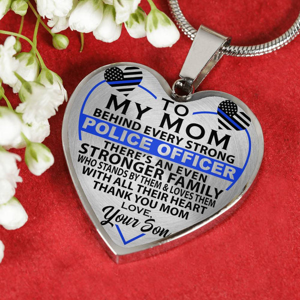 Police Mom Thank You Love Your Son Heart Necklace (USA Made)