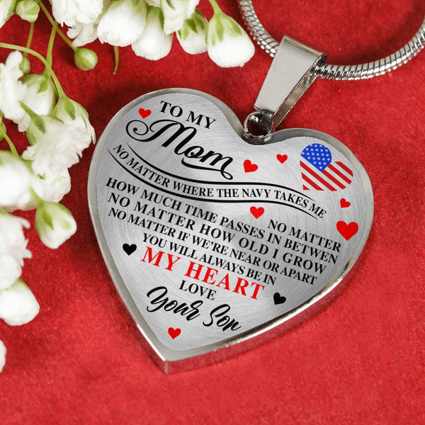 Navy Mom Always In My Heart, Son Mother's Day Heart Necklace (USA Made)