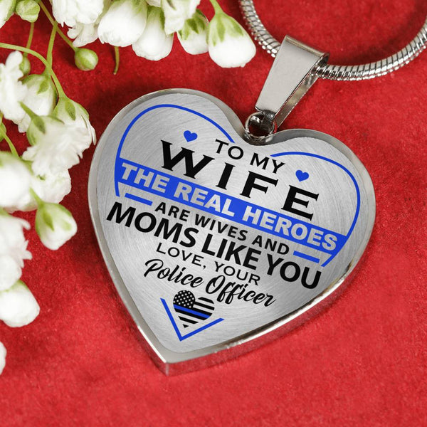 Police Mom Wife Hero Mother's Day Heart Necklace