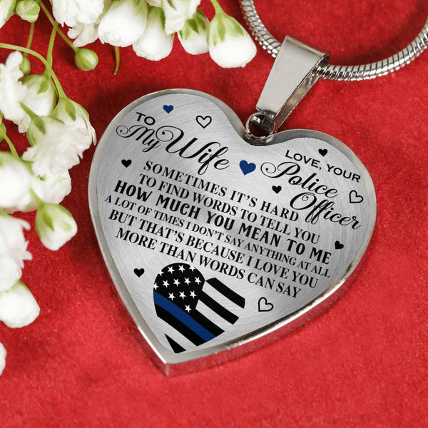 More Than Words Police's Wife Heart Necklace (USA Made)