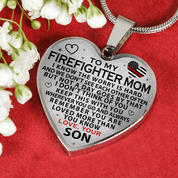 Firefighter Mom Mother's Day Heart Necklace