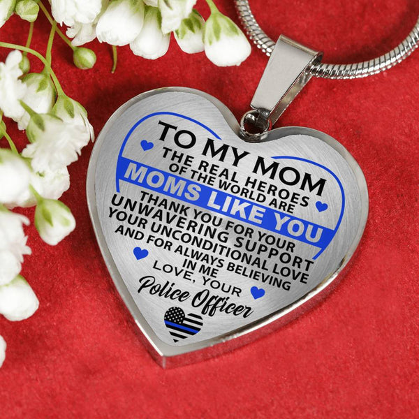 Police Mom Hero Thank You - Mom - Heart Necklace (USA Made)