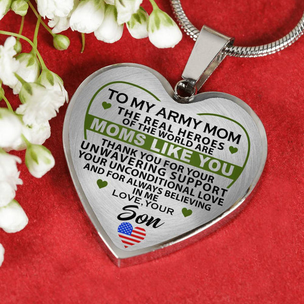 Army Mom Real Hero Thank You Heart Necklace (USA Made)