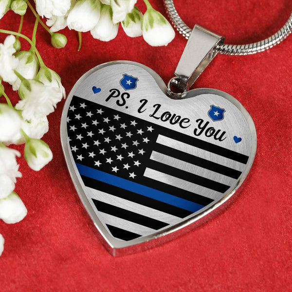 PS. I Love You Police Heart Necklace (USA Made)