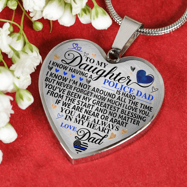 Police Daughter Greatest Blessing Always In My Heart Necklace (USA Made)