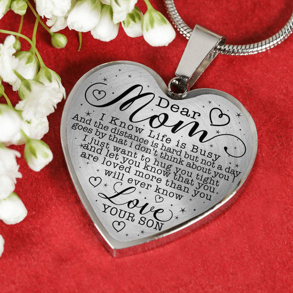 Dear Mom Always In My Heart Love Your Son Heart Shaped Necklace