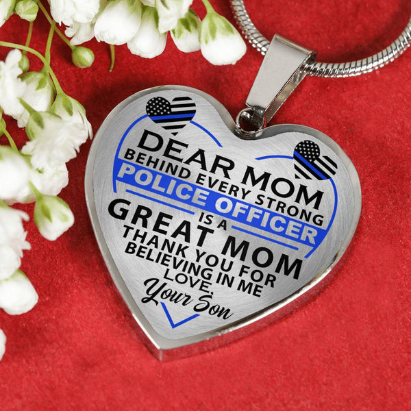 Police Mom Thank You For Believing In Me Heart Necklace (USA Made)