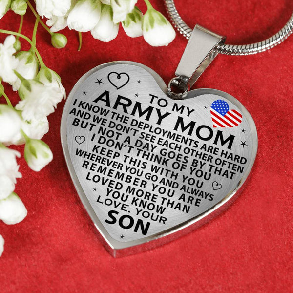 Army Mom Mother's Day Heart Necklace (USA Made)