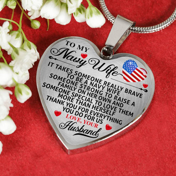 To My Navy  Wife Heart Necklace