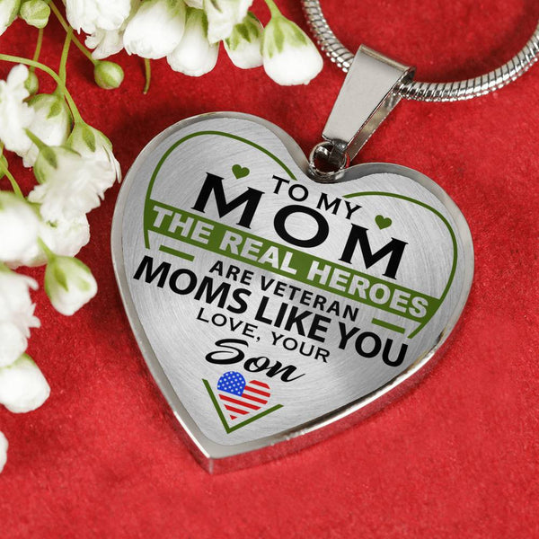 Veteran's Mom - Real Hero - Heart Necklace