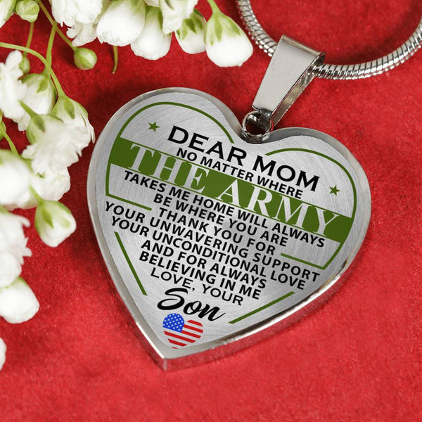 Army Mom Take Me Home Mother's Day Heart Necklace (USA Made)