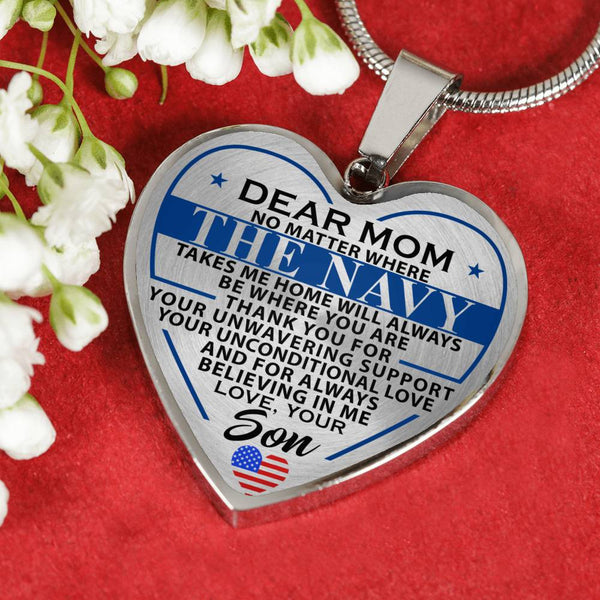 Navy Mom Take Me Home Mother's Day Heart Necklace (USA Made)