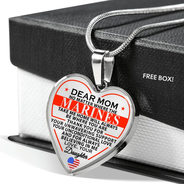 Marine Mom Home Is Where You Are Heart Necklace - Daughter Version