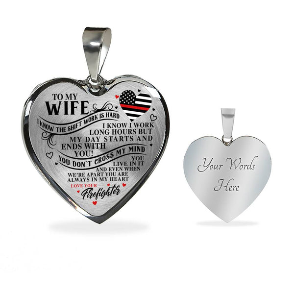 Firefighter Wife You Are Always In My Heart Necklace (USA Made)