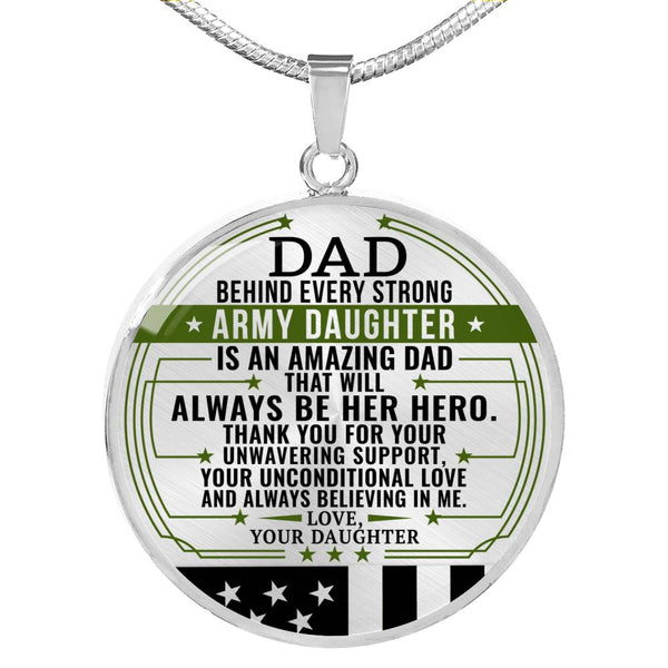 Army Daughter Hero Dad Necklace (USA Made)