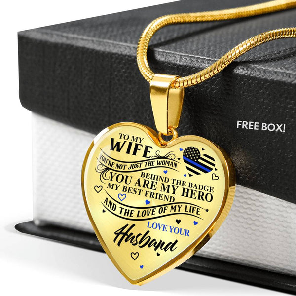 Law Enforcement Wife My Hero And Love Of My Life Necklace (USA Made)
