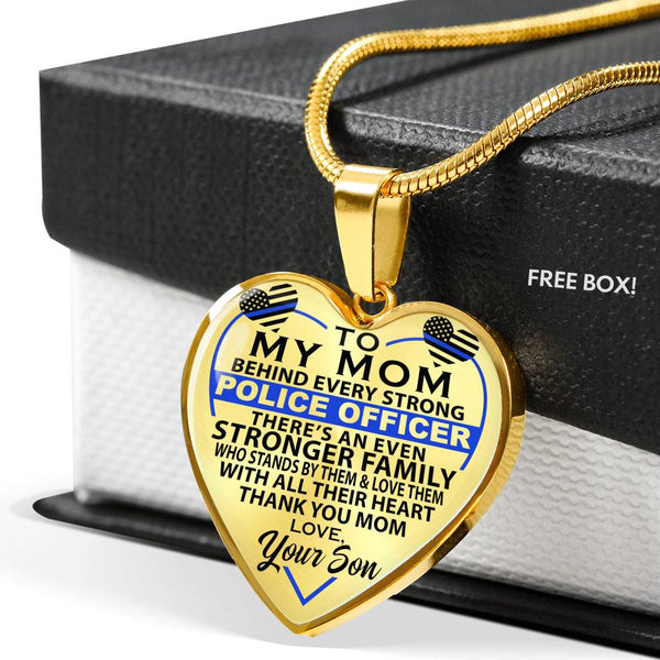 To My Mom - For your Police Officer - Heart Necklace