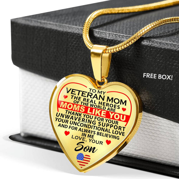 To My Veteran Mom Hero Thank You Necklace (USA Made)
