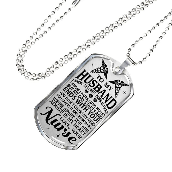 Nurse's Husband Always In My Heart Dog Tag (USA Made)
